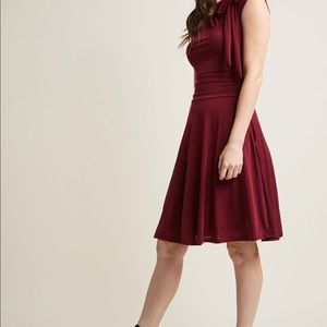 Burgundy bow-topped dress